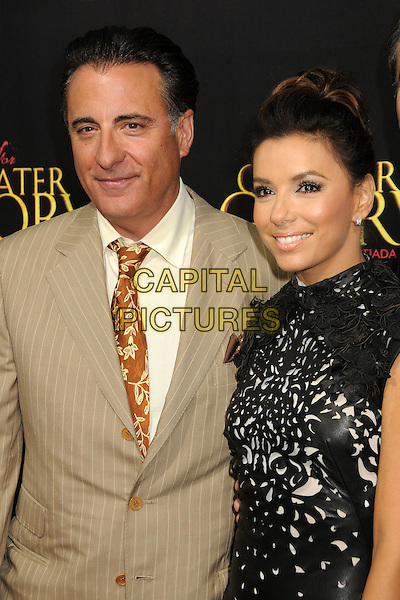 "Andy Garcia, Eva Longoria.""For Greater Glory"" Los Angeles Premiere held at the AMPAS Samuel Goldwyn Theater, Beverly Hills, California, USA..May 31st, 2012.half length dress beige suit jacket pinstripe black leather perforated pattern  hair up bun  .CAP/ADM/BP.©Byron Purvis/AdMedia/Capital Pictures."