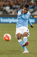Melbourne, 21 July 2015 - Kelechi Iheanacho of Manchester City kicks the ball in game two of the International Champions Cup match at the Melbourne Cricket Ground, Australia. City def Roma 5-4 in Penalties. (Photo Sydney Low / AsteriskImages.com)