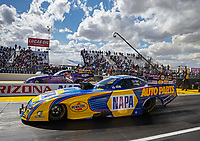 Feb 23, 2018; Chandler, AZ, USA; NHRA funny car driver Ron Capps (near) alongside Jack Beckman during qualifying for the Arizona Nationals at Wild Horse Pass Motorsports Park. Mandatory Credit: Mark J. Rebilas-USA TODAY Sports