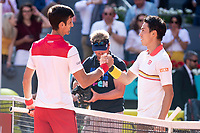 Serbian Novak Djokovic and Japanese Kei Nishikori during Mutua Madrid Open 2018 at Caja Magica in Madrid, Spain. May 07, 2018. (ALTERPHOTOS/Borja B.Hojas) /NortePhoto.com
