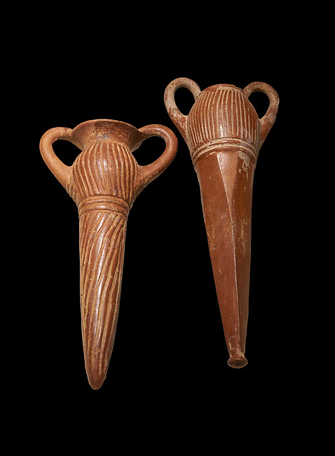 Bronze Age Anatolian terra cotta two handled beakers - 19th to 17th century BC - Kültepe Kanesh - Museum of Anatolian Civilisations, Ankara, Turkey.  Against a black background.