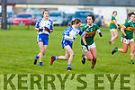 Kerrry's Emma Dineen keepeing a watchful eye on Megan Dunsfort of Waterford in the LGFA National football league in Strand Road on Saturday.