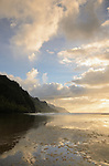 Evening clouds at Ke'e Beach and the Na Pali Coast, Kauai, Hawaii