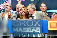NEW YORK - JULY 31:  Actress Maria Menounos celebrates Crocs 10th anniversary by ringing the NASDAQ opening bell at the NASDAQ MarketSite on July 31, 2012 in New York City. (Photo by MPI81/MediaPunchInc) /NortePhoto.com<br />