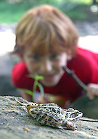 A boy watches a frog near the Eno River, North Carolina, August 2009. (Photo by Brian Cleary/www.bcpix.com)
