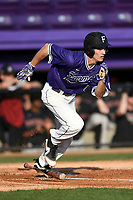 Center fielder Ben Anderson (17) of the Furman Paladins runs out a batted ball in game two of a doubleheader against the Harvard Crimson on Friday, March 16, 2018, at Latham Baseball Stadium on the Furman University campus in Greenville, South Carolina. Furman won, 7-6. (Tom Priddy/Four Seam Images)