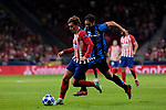 Atletico de Madrid's Antoine Griezmann and Club Brugge's Benoit Poulain during UEFA Champions League match between Atletico de Madrid and Club Brugge at Wanda Metropolitano Stadium in Madrid, Spain. October 03, 2018. (ALTERPHOTOS/A. Perez Meca)