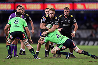 DURBAN, SOUTH AFRICA - MAY 05: Alex Ainley of the Pulse Energy Highlanders tackling Dan du Preez of the Cell C Sharks during the Super Rugby match between Cell C Sharks and Highlanders at Jonsson Kings Park Stadium in Durban, South Africa on Saturday, 5 May 2018. Photo: Steve Haag / stevehaagsports.com