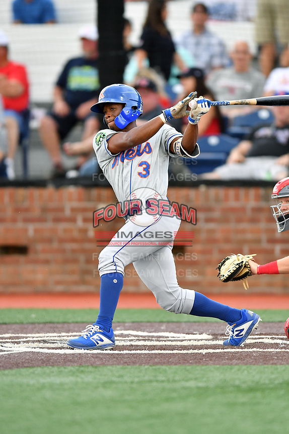 Kingsport Mets Kennie Taylor (3) swings at a pitch during a game against the Johnson City Cardinals at TVA Credit Union Ballpark on June 28, 2019 in Johnson City, Tennessee. The Cardinals defeated the Mets 7-4. (Tony Farlow/Four Seam Images)