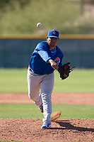 Chicago Cubs relief pitcher Jhon Romero (60) during a Minor League Spring Training game against the Los Angeles Angels at Sloan Park on March 20, 2018 in Mesa, Arizona. (Zachary Lucy/Four Seam Images)
