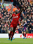 Sadio Mane of Liverpool celebrates scoring their second goal during the Premier League match at Anfield, Liverpool. Picture date: 7th March 2020. Picture credit should read: Darren Staples/Sportimage
