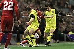 24.02.2011 Europa League Football from Anfield Liverpool v Sparta Prague. Liverpool midfielder Joe Cole (red shirt) is tackled by Sparta players Libor Sionko (left) and Ondrej Kusnir during the first half.
