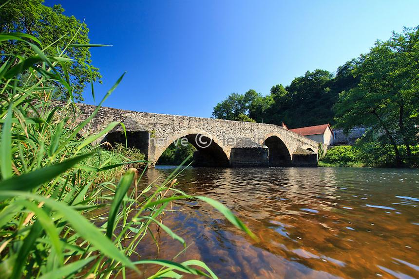 France, Puy-de-Dôme (63), Menat, pont médiéval en dos d'âne sur la rivière de la Sioule // France, Puy de Dome, Menat, medieval humpback bridge on Sioule river