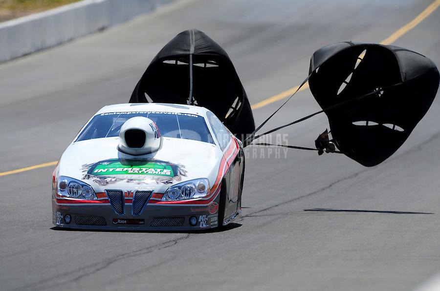 Jul. 30, 2011; Sonoma, CA, USA; NHRA pro stock driver Mike Edwards during qualifying for the Fram Autolite Nationals at Infineon Raceway. Mandatory Credit: Mark J. Rebilas-