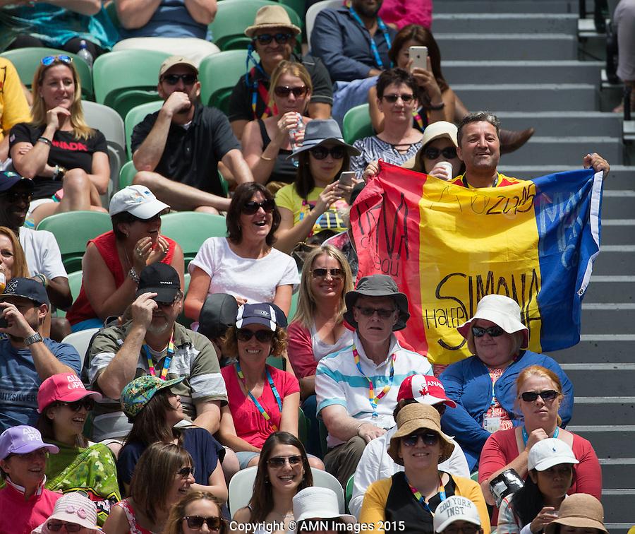 Irina-Camelia Begu (ROU) Fans<br /> <br /> Tennis - Australian Open 2015 - Grand Slam -  Melbourne Park - Melbourne - Victoria - Australia  - 25 January 2015. <br /> &copy; AMN IMAGES