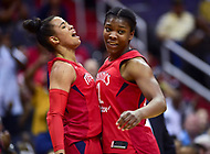 Washington, DC - May 27, 2018: Washington Mystics guard Natasha Cloud (9) celebrates a possible three point play with Washington Mystics forward Myisha Hines-Allen (2) during game between the Mystics and Lynx at the Capital One Arena in Washington, DC. (Photo by Phil Peters/Media Images International)