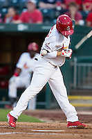 James Ramsey (3) of the Springfield Cardinals is hit by a pitch during a game against the Northwest Arkansas Naturals at Hammons Field on August 20, 2013 in Springfield, Missouri. (David Welker/Four Seam Images)