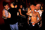 'GAYFEST MANCHESTER, UK', OPEN MOUTH, OPEN EYE, DRINK FUELLED REVELLERS EMBRACE AT THE HOLLYWOOD SHOWBAR,