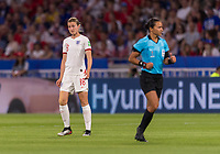 LYON,  - JULY 2: Ellen White #18 reacts to a called foul during a game between England and USWNT at Stade de Lyon on July 2, 2019 in Lyon, France.