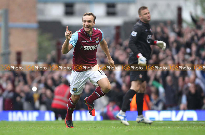 Mark Noble celebrates after scoring the 3rd goal for West Ham from the penalty spot - West Ham United vs Southampton, Barclays Premier League at Upton Park, West Ham - 20/10/12 - MANDATORY CREDIT: Rob Newell/TGSPHOTO - Self billing applies where appropriate - 0845 094 6026 - contact@tgsphoto.co.uk - NO UNPAID USE.