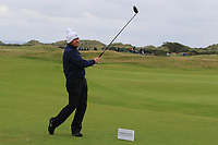 Gerry McIlroy (AM) playing with his son Rory McIlroy (NIR) on the 16th tee during Round 4 of the Alfred Dunhill Links Championship 2019 at St. Andrews Golf CLub, Fife, Scotland. 29/09/2019.<br /> Picture Thos Caffrey / Golffile.ie<br /> <br /> All photo usage must carry mandatory copyright credit (© Golffile | Thos Caffrey)