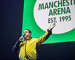 © Joel Goodman - 07973 332324 . No Editorial syndictaion permitted . 09/09/2017. Manchester , UK . PETER KAY on the stage wearing a Showsec security top . We Are Manchester reopening charity concert at the Manchester Arena with performances by Manchester artists including  Noel Gallagher , Courteeners , Blossoms and the poet Tony Walsh . The Arena has been closed since 22nd May 2017 , after Salman Abedi's terrorist attack at an Ariana Grande concert killed 22 and injured 250 . Money raised will go towards the victims of the bombing . Photo credit : Joel Goodman