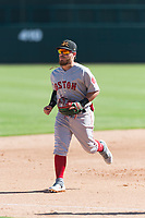 Mesa Solar Sox second baseman Esteban Quiroz (2), of the Boston Red Sox organization, jogs off the field between innings of an Arizona Fall League game against the Glendale Desert Dogs at Camelback Ranch on October 15, 2018 in Glendale, Arizona. Mesa defeated Glendale 8-0. (Zachary Lucy/Four Seam Images)