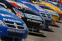 Mar 30, 2007; Martinsville, VA, USA; Nascar Nextel Cup Series cars sit in the garage area during qualifying for the Goody's Cool Orange 500 at Martinsville Speedway. Martinsville marks the second race for the new car of tomorrow. Mandatory Credit: Mark J. Rebilas.