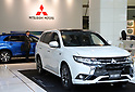 October 18, 2017, Tokyo, Japan - Japan's automaker Mitsubishi Motors (MMC) displays the company's plug-in hybrid Outlander at the MMC headquarters in Tokyo on Wednesday, Octoebr 18, 2017. MMC announced its mid-term strategy and three-year plan would target more tha 30 percent increase in unit sales and revenues.    (Photo by Yoshio Tsunoda/AFLO) LWX -ytd-