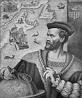 Imagined portrait of Jacques Cartier, 1491-1557, explorer and cartographer who mapped Eastern Canada, reproduction of an engraving by Pierre Gandon, 1934, from the Archives of the Quebec Seminary, in the Musee de la Civilisation, or Museum of Civilisation, Quebec City, Quebec, Canada. The Historic District of Old Quebec is listed as a UNESCO World Heritage Site. Picture by Manuel Cohen