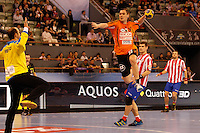 25.03.2012 MADRID, SPAIN -  EHF Champions League match played between BM At. Madrid vs Kadetten Schaffhausen (26-30) at Palacio Vistalegre stadium. the picture show Aleksandar Stojanovic (Kadetten Schaffhausen player)