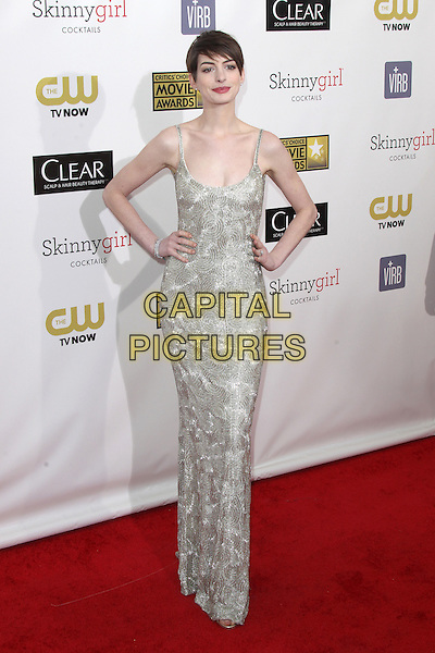 SANTA MONICA, CA - JANUARY 10: Anne Hathaway at the 18th Annual Critics' Choice Movie Awards at Barker Hangar on January 10, 2013 in Santa Monica, California. <br /> CAP/MPI26<br /> &copy;MPI26/Capital Pictures