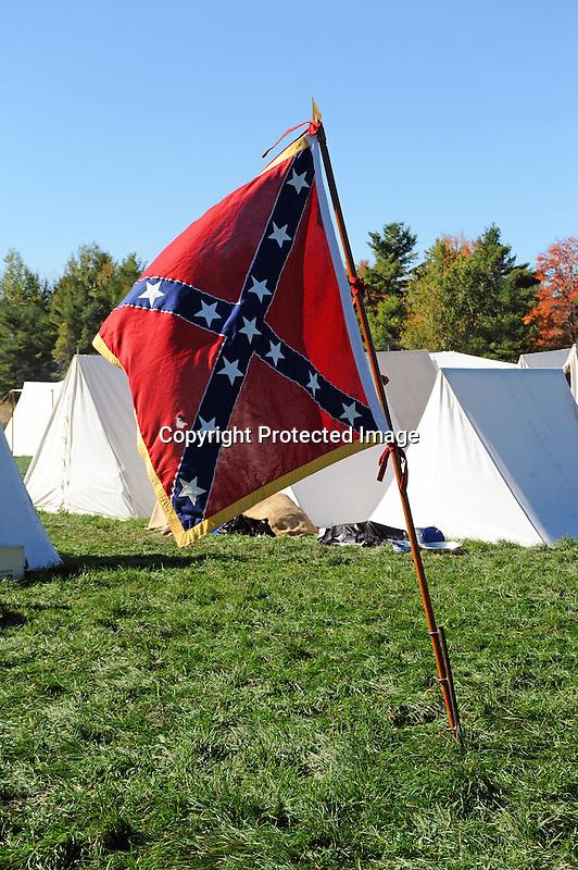 Civil War Reenactment Confederate Camp and Flag