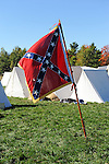 Civil War Reenactment Confederate Camp and Flag
