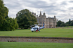 Stamford, Lincolnshire, United Kingdom, 7th September 2019, The Air Ambulance in front of Burghley House ahead of the Cross Country Phase of the 2019 Land Rover Burghley Horse Trials, Credit: Jonathan Clarke/JPC Images