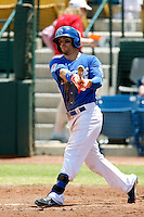 Collin Cowgill #1 of the Las Vegas 51s bats against the Salt Lake Bees at Cashman Field on May 27, 2013 in Las Vegas, Nevada. Las Vegas defeated Salt Lake, 9-7. (Larry Goren/Four Seam Images)