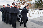 Mar. 4, 2015; Moreau Seminary seminarians serve as pallbearers for President Emeritus Rev. Theodore M. Hesburgh at the graveside service at the Congregation of Holy Cross Cemetery. (Photo by Barbara Johnston/University of Notre Dame)