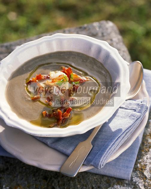 """Europe/Italie/Ombrie/Orvieto : Soupe de lentilles et écrevisse - Recette d'Anna-Rita Stopponi du restaurant """"I Sette Consoli"""""""