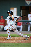 Bowie Baysox second baseman Erick Salcedo (9) at bat during a game against the Harrisburg Senators on May 16, 2017 at FNB Field in Harrisburg, Pennsylvania.  Bowie defeated Harrisburg 6-4.  (Mike Janes/Four Seam Images)