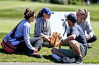 Silvia Brunotti eats lunch during the New Zealand Amateur Golf Championship at Russley Golf Course, Christchurch, New Zealand. Sunday 5 November 2017. Photo: Simon Watts/www.bwmedia.co.nz