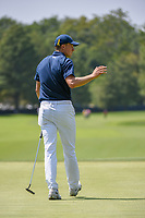 Jordan Spieth (USA) sinks his birdie putt on 8 during 3rd round of the 100th PGA Championship at Bellerive Country Club, St. Louis, Missouri. 8/11/2018.<br /> Picture: Golffile | Ken Murray<br /> <br /> All photo usage must carry mandatory copyright credit (&copy; Golffile | Ken Murray)