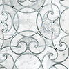 Abigail, a handmade mosaic shown in honed Carrara, honed Allure and honed Greystoke, is part of the Parterre Collection by Paul Schatz for New Ravenna.