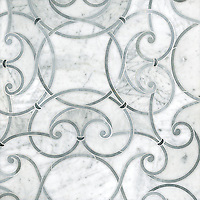 Abigail, a handmade mosaic shown in honed Carrara, honed Allure and honed Greystoke. Designed by Sara Baldwin for New Ravenna.<br />