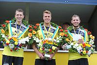 KAATSEN: LEEUWARDEN: 19-07-2015, Winnaars Rengersdag Bauke Triemstra, Dylan Drent en Patrick Scheepstra, ©foto Martin de Jong