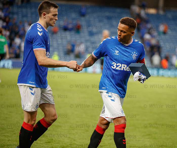 25.07.2019 Rangers v Progres Niederkorn: James Tavernier gives a fist pump to defensive colleague George Edmundson
