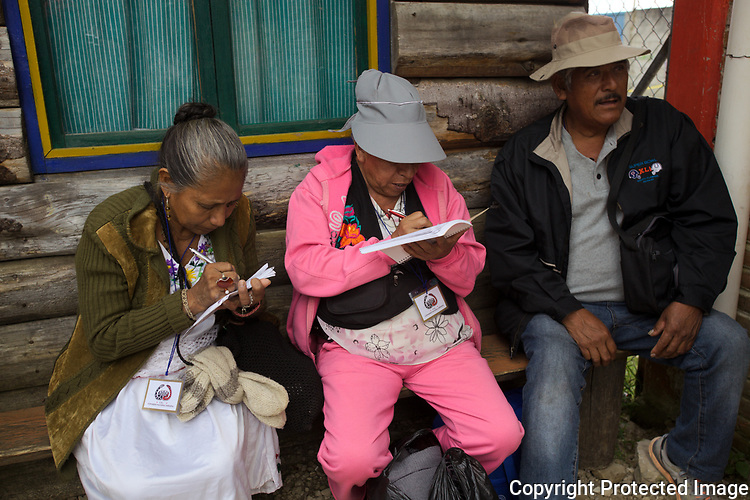 The Indigenous Governing Council (IGC) members closure their General Assembly after working for two days prior they start their trip to the five Zapatista Caracoles, October 13, 2017 at the venue of CIDECI in San Cristobal las Casas, in the southern state of Chiapas. The IGC and its spokewoman Marichuy Patricio Gonzalez will visit the Zapatista venues knows as the Caracoles as they launch the campaign to run for the presidency of Mexico in 2018. Photo by Heriberto Rodriguez