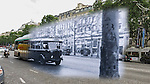 VMI Vincentian Heritage Tour: A bus on the Avenue des Champs Élysées in Paris, outside the same theater where my dad was photographed by my grandfather more than 67 years ago (circa 1949). (DePaul University/Jamie Moncrief)