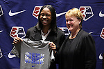 17 January 2014: Maya Hayes, with NWSL Executive Director Cheryl Bailey, was selected with the sixth overall pick by Sky Blue FC. The 2014 National Women's Soccer League Draft was held at the NSCAA Annual Convention in the Pennsylvania Convention Center in Philadelphia, Pennsylvania.