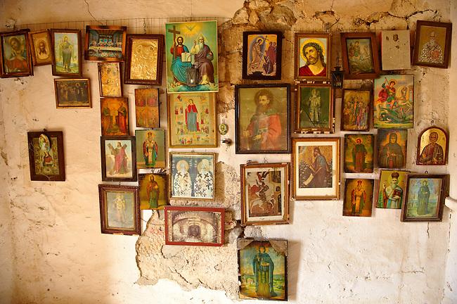 Interior of Greek Orthodox church, Paliachora,  Aegina, Greek Saronic Islands