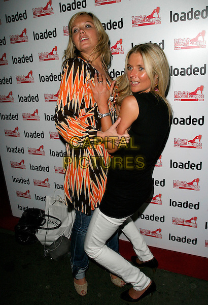 """GUESTS.At Loaded Magazine's """"Britain's Sexiest Singles"""" Party, The Play Room, Air Street, London,.England, August 1st 2006..full length girls  funny white jeans orange print top hugging.Ref: AH.www.capitalpictures.com.sales@capitalpictures.com.©Adam Houghton/Capital Pictures."""